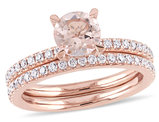 Morganite 1.0 Carat (ctw) with Diamond 5/8 Carat (ctw) Engagement Ring and Bridal Wedding Set 14K Pink Gold