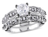Created White Sapphire 1.9 Carat (ctw) with Diamond 1/10 Carat (ctw) Engagement Ring and Wedding Band Set in 10K White Gold Black Rhodium Plated