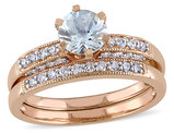 Aquamarine 3/4 Carat (ctw) with Diamond 1/3 Carat (ctw) Bridal Set Ring in 10K Pink Gold