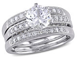 Created White Sapphire 1 Carat (ctw) with Diamond 2/5 Carat (ctw) Bridal Ring Set in 10K White Gold