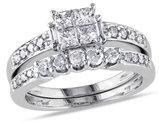 Princess Cut 1.00 Carat (ctw, Color H-I, Clarity I2-I3)  Diamond Engagement Ring & Band Bridal Wedding Set in 14K White Gold