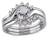 Diamond Engagement Ring & Band 1/4 Carat (ctw Color H-I Clarity I2-I3) Bridal Wedding Set in 14K White Gold