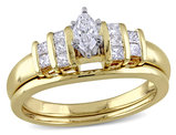 Marquise Cut 1/2 Carat (ctw Color H-I Clarity I2-I3) Diamond Engagement Ring & Wedding Band Set in 14K Yellow & White Gold