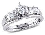 Marquise Cut 1/2 Carat (ctw Color H-I Clarity I2-I3) Diamond Engagement Ring & Wedding Band Bridal Set  in 14K White Gold