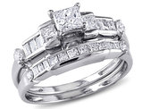 Princess Cut 1.0 Carat (ctw Color G-H Clarity I2_I3) Diamond Engagement Ring & Wedding Band  14K White Gold