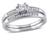 Princess Cut 1/3 Carat (ctw H-I, I2-I3) Diamond Engagement Ring & Wedding Band Set  in 14K White Gold