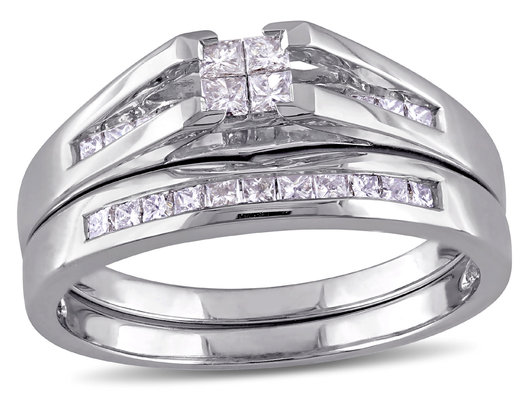Princess Cut 1/2 Carat (ctw Color H-I, Clarity I2-I3) Diamond Engagement Ring & Wedding Band Set in 14K White Gold