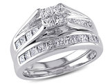 1.00 Carat (ctw H-I, I2-I3) Princess-Cut Diamond Engagement Ring & Wedding Band 14K White Gold