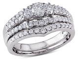 Diamond Engagement Ring and Wedding Band 1.0 Carat (ctw I2-I3, H-I) Set in 14K White Gold