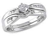 1/3 Carat (ctw Color H-I Clarity I2-I3) Diamond Engagement Ring & Wedding Band Wedding Set in 10K White Gold