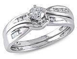 1/3 Carat (ctw Color H-I Clarity I2-I3) Diamond Engagement Ring & Wedding Band Wedding Set in 10K White Gold