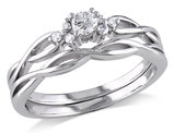 Diamond 1/6 Carat (ctw) Engagement Ring & Wedding Band Set in 10K White Gold