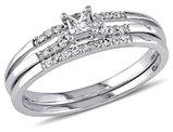 Princess Cut Diamond Engagement Ring & Wedding Band Set 1/5 Carat (ctw) in 10K White Gold