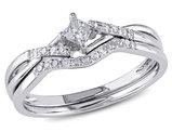 Princess Cut 1/5 Carat (ctw) Diamond Engagement Ring & Wedding Band Set in 10K White Gold