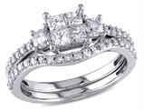 Princess Cut  1.0 Carat (ctw) Diamond Engagement Ring & Wedding Band Set in 14K White Gold