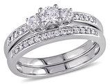 1/2 Carat (ctw H-I, I2-I3) Three Stone Diamond Engagement Ring & Wedding Band Set 14K White Gold