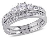 Three Stone Diamond Engagement Ring and Wedding Band Set 1/2 Carat (ctw Color H-I Clarity I2-I3) 14K White Gold