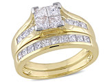 Princess Cut Diamond Engagement Ring & Wedding Band 2.0 Carat (ctw Color H-I Clarity I2-I3) 14K Yellow Gold