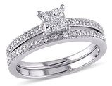 Princess Cut 1/3 Carat (ctw Color H-I Clarity I2-I3) Diamond Engagement Ring & Wedding Band Set in 10K White Gold