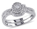 Diamond Engagement Ring & Wedding Band Set 1/3 Carat (ctw Color H-I Clarity I2-I3) 10K White Gold