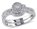 Diamond Engagement Ring & Wedding Band Set 1/3 Carat (ctw Color H-I Clarity I2-I3) 10K White Gold