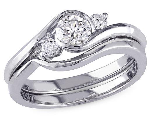 Diamond Engagement Ring and Wedding Band 1/2 Carat (ctw I2-I3, H-I) Set in 10K White Gold