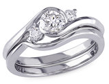 Diamond Engagement Ring and Wedding Band 1/2 Carat (ctw) Set in 10K White Gold