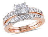 Princess Cut Diamond Engagement Ring & Band Bridal Set 1.0 Carat (ctw Color H-I Clarity I2-I3) 14K White & Pink Gold