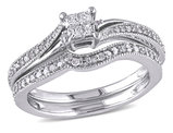 Princess Cut Diamond Engagement Ring & Wedding Band 1/4 Carat ((ctw) Color H-I Clarity I2-I3) Set in 10K White Gold