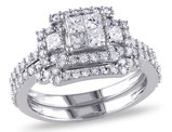 Princess Cut Diamond Engagement Ring & Wedding Band Set 1.20 Carat (ctw Color H-I Clarity I2-I3) in 14K White Gold