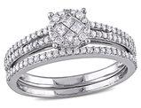 Princess Cut Diamond Engagement Ring & Wedding Band 1/2 Carat (ctw Color H-I Clarity I2-I3) 14K White Gold