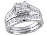 2.00 Carat (ctw H-I, I2-I3) Princess-Cut Diamond Engagement Ring Wedding Band Bridal Set in 14K White Gold