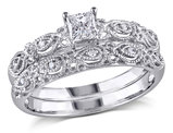 Princess Cut Diamond Engagement Ring & Wedding Band Set 1/3 Carat (ctw) in 10K White Gold