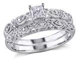 Princess Cut Diamond Engagement Ring & Wedding Band Set 1/3 Carat (ctw) in 10K White Gold