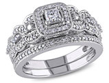 Princess Cut Diamond Engagement Ring & Wedding Band 1/2 Carat (ctw) Bridal Wedding Set  in 14K White Gold