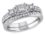 Diamond Engagement Ring & Wedding Band 1/4 Carat (ctw) Bridal Wedding  Set in 10K White Gold