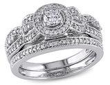 Diamond Halo Engagement Ring and Wedding Band Set 1/2 Carat (ctw) in 10K White Gold