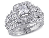 1.25 Carat (ctw Color H-I Clarity I2-I3) Princess Cut Diamond Engagement Ring & Wedding Band Bridal Set in 14K White Gold