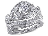 1.00 Carat (ctw H-I, I2-I3) Diamond Engagement Ring & Wedding Band Set 14K White Gold