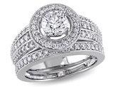 Diamond Halo Engagement Ring and Wedding Band Set 1.50 Carat (ctw) in 14K White Gold