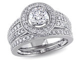 Diamond Halo Engagement Ring and Wedding Band Set 1.50 Carat (ctw) in 14K White Gold