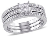 Princess Cut Diamond Engagement Ring & Wedding Band Set 3/8 Carat (ctw Color H-I Clarity I2-I3) in 10K White Gold