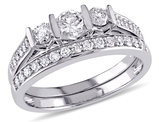 Diamond Engagement Ring & Wedding Band Set 3/4 Carat (ctw) in 10K White Gold