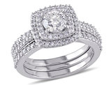 Diamond Engagement Ring and Wedding Band Set 1.50 Carat (ctw) in 10K White Gold