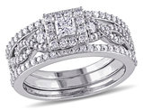 Princess Cut Diamond Engagement Ring & Wedding Band Bridal Wedding Set 1.0 Carat (ctw) in 10K White Gold