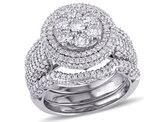 Diamond Engagement Ring & Wedding Band Bridal Set 2.46 Carat (ctw Color H-I Clarity I2-I3) in 10K White Gold