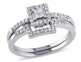 Princess Cut 1/4 Carat (ctw) Diamond Engagement Ring & Wedding Band Set in 10K White Gold