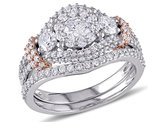 Diamond Engagement Ring and Wedding Band Set 1.50 Carat (ctw Color H-I, Clarity I2-I3) in 10K Rose Gold