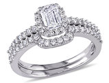 1.0 Carat (ctw Color H-I Clarity I2-I3) Emerald Cut Diamond Halo Engagement Ring & Wedding Band Set in 14K White Gold