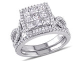 Princess Cut Diamond Engagement Ring & Wedding Band Set 1.50 Carat (ctw) in 10K White Gold
